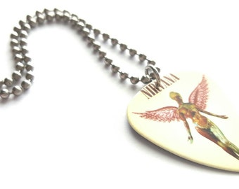 Nirvana Guitar Pick Necklace with Stainless Steel Ball Chain - music
