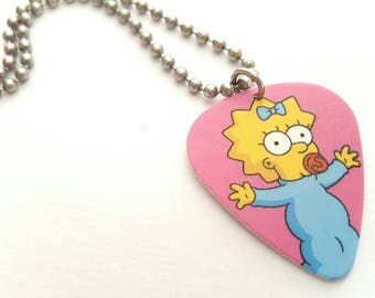 Maggie Simpson Guitar Pick Necklace with Stainless Steel Ball Chain - animation - the Simpsons - baby