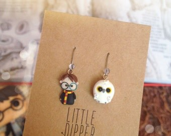 """Harry and Hedwig handmade earrings - inspired """"Harry Potter"""""""