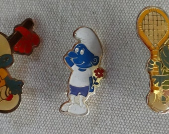 "Set of 3 Vintage SMURF Lapel Pins, 1 1/8"" Tall"