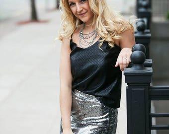 Dark Liquid Silver Sequin Skirt