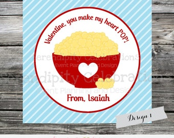 Printable Valentine Cards, Popcorn Treat Valentine's Day Card, Classroom Cards, Valentine's Day,  Kids Valentine Cards, DIY Valentine Cards