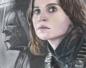Colored Pencil / Graphite Drawing Print of Jyn Erso (Felicity Jones) and Darth Vader / Death Star in Star Wars: Rogue One