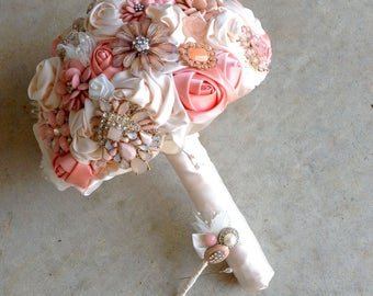 DEPOSIT | Brooch Bouquet | Bridal Brooch Bouquet | Satin Roses Broach Bouquet