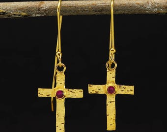 Handcrafted Hammered 24K Yellow Gold over 925 Sterling Silver, Cubic Zirconia Stone Ancient Roman, Byzantium Art Cross Dangle Hook Earrings