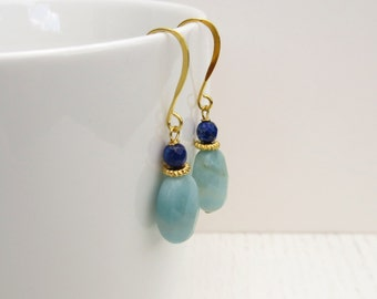 Amazonite earrings, Lapis lazuli earrings