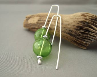 Bottle Green Handblown Glass Bubble and Sterling Silver Earrings