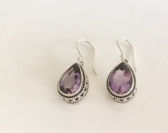 Amethyst silver teardrop dangle earrings- gemstone earrings- statement gemstone earrings- February birthstone