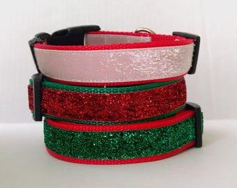 Christmas Glitter Dog Collar - Adjustable Dog Collar - Christmas Dog Collar