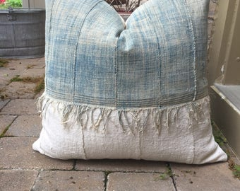 22 inch faded african fringe indigo mudcloth pillow cover