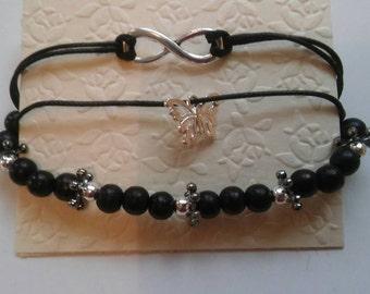 3 piece bracelet set in black and silver-butterfly,infinity black cord bracelet with black beaded bracelet
