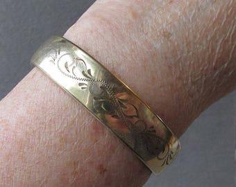 Antique Victorian Wide Gold Filled Engraved Vintage Bangle Bracelet by Carla