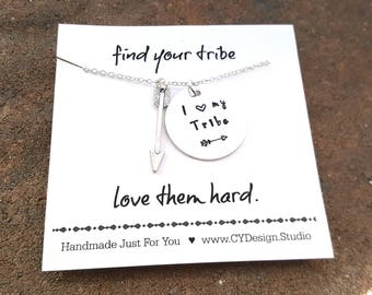 I Love My Tribe Necklace - Hand Stamped Jewelry - Sterling Silver Necklace - Dainty Simple Everyday Jewelry - Gift for Her