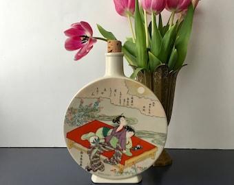 vintage porcelain decanter Harunobu chinoiserie sake
