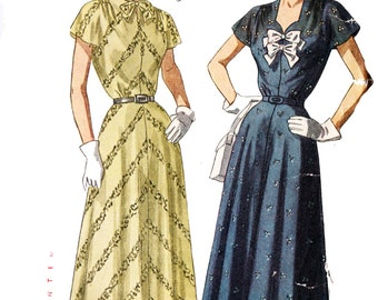 Simplicity 2495 Misses' Vintage 1940s Shirtdress with Tie Collar Sewing Pattern