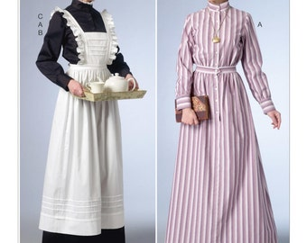 Butterick B6229 Misses' 19th Century Long Button-Down Dresses, Full-Length Apron and Ruffled Headpiece Historical Costume Sewing Pattern