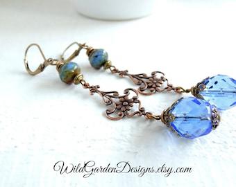 True Blue Bohemian Earrings Long Dangle Earrings Light Sapphire Czech Glass Earrings Boho Brass Earrings Colorful Bohemian Dangle Earrings
