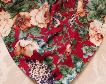 Vintage Handmade Apron Made of Big-flowered Fabric
