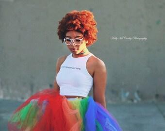 Rainbow tea length tutu adult tutu gay pride tutu equality tutu long tutu for women edc edm rave tutu festival outfit burning man outfit