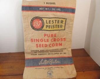 Seed Sack Lester PFister Seed Corn, Canvas Seed Bag, El Paso, Ill.