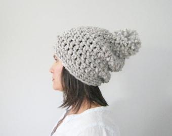 Pom Pom Slouchy Hat   Chunky Pom Pom Beanie   Slouchy Beanie Women   Hipster Beanie   Chunky Knitted Hat   Christmas Gift for Her