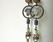 RESERVED for MARY - As Fast As You Can - rustic earrings w/ cleaves; grungy, industrial, post-apocalyptic, primitive assemblage earrings