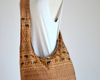 Coffee Brown Hippie Elephant Cotton Crossbody Bag Hobo Bag Sling Bag Shoulder Bag Messenger Bag Diaper Bag Zipper Purse Boho Design Gift