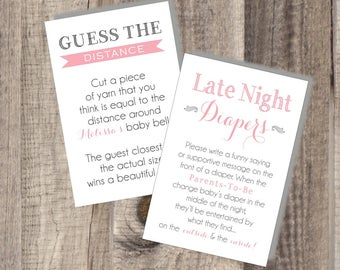 TWO Printables - 24-48 hour turnaround Baby Shower Game Printables - Guess The Distance - Late Night Diapers