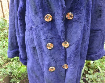 48 HR SALE! Custom Fur Coat - Muskrat, Dyed Purple, Enamel Buttons, Grand Duchess- Vintage - Gorgeous!
