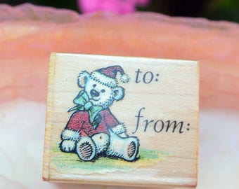 1980 Bear Rubber Stamp - UNUSED - To/From, All Night Media Inc, Christmas Bear #644C - Vintage - Fabulous!