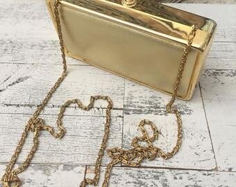 Vintage Gold Box Purse Clutch Bag - Evening Bag - Metallic Gold Box Clutch -