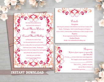 Wedding Invitation Template Download Printable Wedding Invitation Editable  Invitation Red Wedding Invitations Elegant Peach Invitation DIY