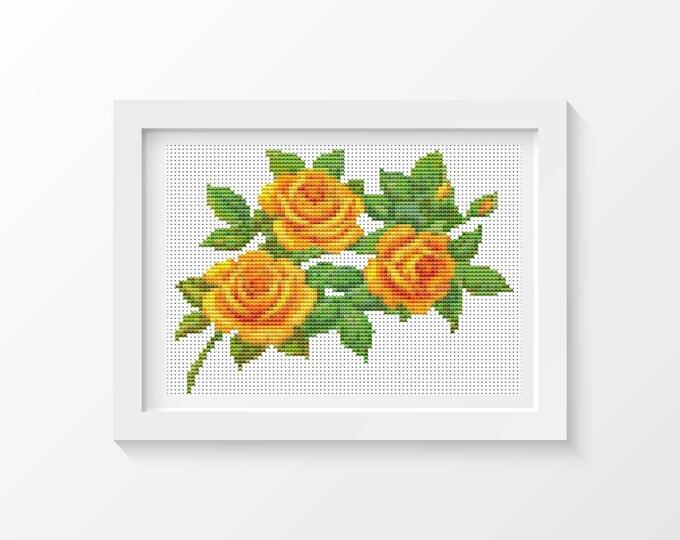 Mini Cross Stitch Pattern PDF, Embroidery Chart, Art Cross Stitch, Floral Cross Stitch, A Trio of Yellow Roses (TAS091)
