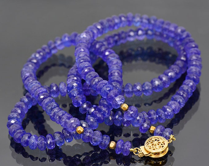 UPRISING SALE! Breathtaking Faceted Tanzanite Bead Necklace with 14 kt Yellow Gold Clasp 196.0 cts.