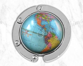 GLOBE Purse Hook, Vintage World Map Globe Purse Hanger, Purse Holder, Bag Hook, Purse Accessory Handbag Hanger, Diaper Tote Bag Hanger Earth