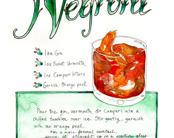 Negroni Cocktail Illustrated Recipe Kitchen Art Print Craft Cocktail