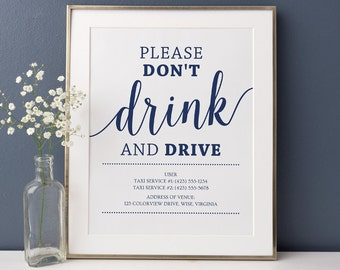 Don't Drink and Drive Sign // Wedding Bar Sign, Printable Taxi Wedding Sign // Instant Download Navy Wedding Signage
