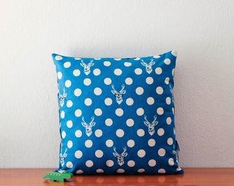 Blue turquoise pillow cover with large polka dots and deers