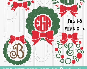 Monogram SVG Files Set of 8 cut files includes svg/png/jpg formats! Commercial use approved! Christmas svg wreath svg Christmas monogram