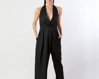 Backless pinstripe halter top overalls with skirt and pant leg