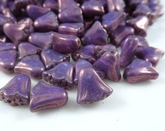 Czech Beads, Czech Glass Flower Beads, Pink Flower - Purple Luster (FLL/RJ-1265) - 10mm Lily - Qty. 10