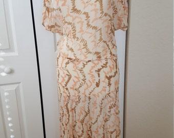 Vintage 1930s Silk Chiffon Scribble Print Dress