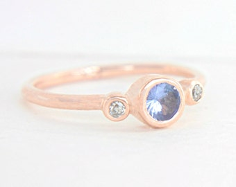 Tanzanite and Diamond Ring 14k Rose Gold Tanzanite Engagement Diamond Gold Ring Made in Your Size Alternative Engagement Ring