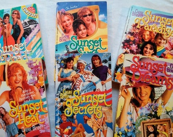 """Lot of Six Vintage 90's Teen Paperbacks, from the """"Sunset Island"""" Series by Cherie Bennett, 1991-95."""