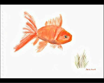 Goldfish art Original watercolor painting Goldfish artwork Gold fish watercolor 10 x 7 inch Fish art fish watercolor home decor