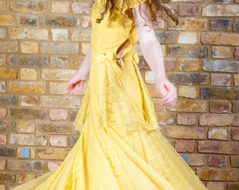 1930s/40s Vintage Dress in Lemon Tulle with Pleats & Bow Detail