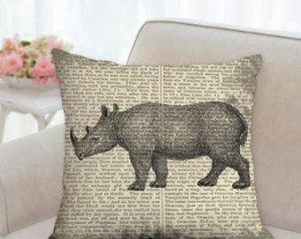 Rustic Rhinoceros Pillow