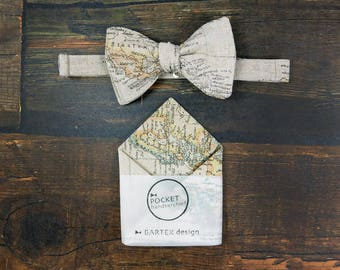 Map Self Tie Bow Tie Map Pocket Square Matching Set Map Bow Tie Map Handkerchief Beige Bow Tie Linen Bow Tie Linen Pocket Square