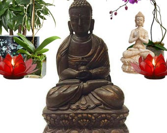 "Vintage Buddha Statue Wood Tibetan 15"" Nepal Buddhist Temple Alter Sculpture Meditation Room Decor Hindu Wall Hanging Tibet Asian Buddha"