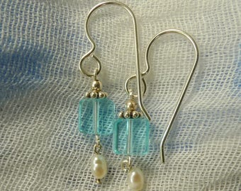 Delicate light blue and pearl earrings
